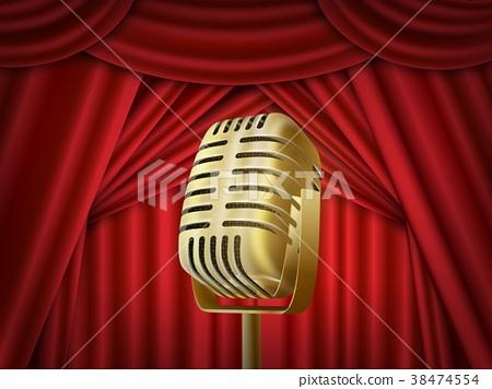 Vintage metal microphone.  Red silk curtai 38474554