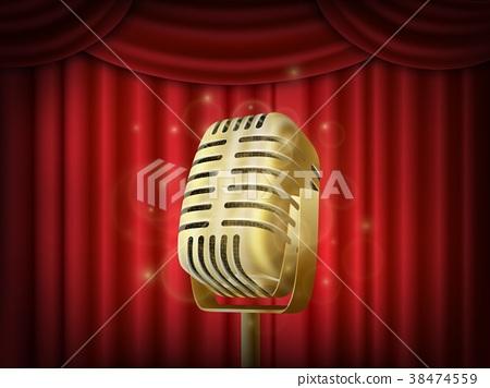Vintage metal microphone.  Red silk curtai 38474559