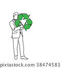 Businessman holding recycling sign vector 38474583