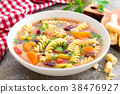 Minestrone soup. Vegetable soup with pasta 38476927