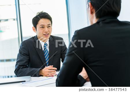 Businessman, desk, interview, personnel, coaching