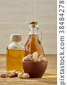 Aromatic oil in a glass jar and bottle with 38484278