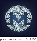 Monero XMR currency coin made a lot of diamonds. 38484454