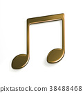 Gold Music Note or Eight Note Icon. 3D Rendering 38488468