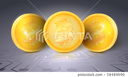 Gold coins of the Bitcoin. The symbol of the 38489090