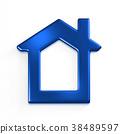 Real Estate Blue House. 3D Rendering Illustration 38489597