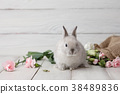 Easter bunny with flowers on white planks 38489836