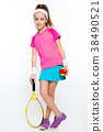 Cute little girl with tennis racket and ball on 38490521