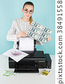 Attractive woman printing cash 38491558