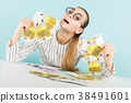 Attractive woman with cash 38491601