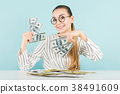 Attractive woman with cash 38491609