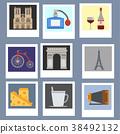 Paris icons vector famous travel cuisine 38492132