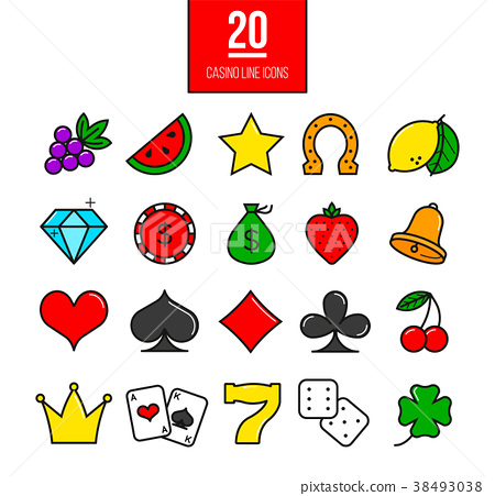 Bright casino line icons set 38493038
