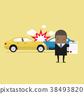 Businessman shows the document of car protection. 38493820