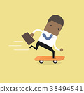 Businessman on skateboard with briefcase. 38494541