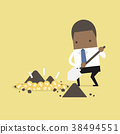 Businessman digging a ground to find treasure coin 38494551