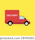 Red delivery truck. Concept fast trucking. 38495661