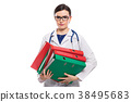 Angry young woman doctor with stethoscope holding 38495683