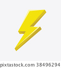 Flash sign thunder yellow. 38496294