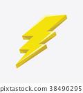 Flash sign thunder yellow. 38496295