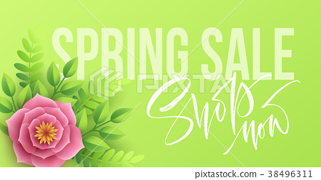 Spring sale banner with paper flowers and 38496311