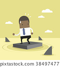 Businessman standing on briefcase In the sea. 38497477