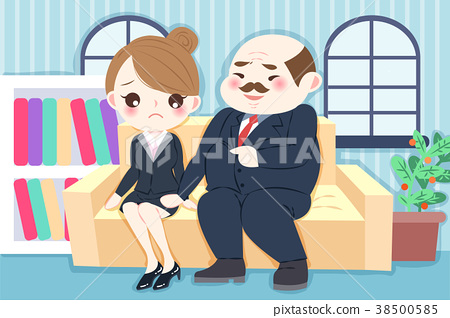 cartoon boss harassing woman 38500585