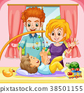 Toddler playing with father and mother 38501155