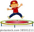 Happy boy jumping on trampoline 38501211