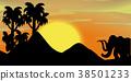 scene, silhouette, sunset 38501233