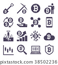 Cryptocurrency mining icons. Vector illustrations. 38502236