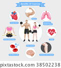 Benefits of exercise. Vector illustration diagram. 38502238