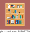 Wooden shelves with books and object decoration 38502799