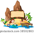 Board template with mermaid on island 38502863