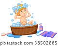 Boy taking bath in brown tub 38502865