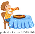 Man eating pizza on the table 38502866