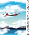 Scene with airplane flying over city at day time 38502902