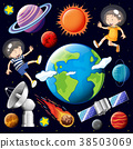 Boy and girl flying in space with many planets 38503069