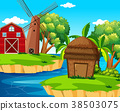Background scene with barn and windmill on island 38503075