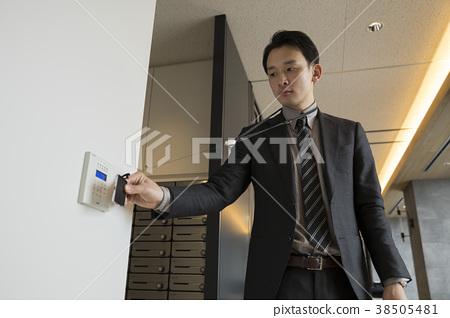 拿著ID卡片的商人打開門 38505481