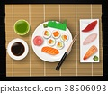 Sushi, Japanese food on wooden table background 38506093