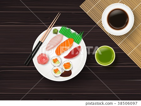 Sushi, Japanese food on wooden table background 38506097