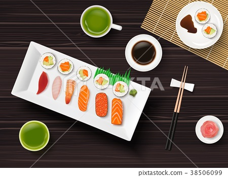 Sushi, Japanese food on wooden table background 38506099