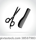 scissors and comb black icons 38507983