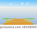 Wooden pier with sea, sky, cloud, and horizon line 38508990