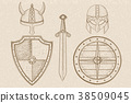 Warrior weapons - old medieval shields, helmets 38509045