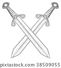 Crossed swords. Hand drawn sketch 38509055