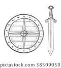 Viking shield and sword. Hand drawn sketch 38509059
