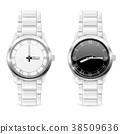 Men wrist watches with metal bracelet. Clockface 38509636