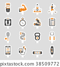 Fitness Icon Sticker Set 38509772